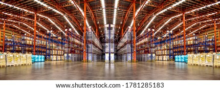 Warehouse industrial and logistics companies. Commercial warehouse. Huge distribution warehouse with high shelves. Low angle view. #1781285183