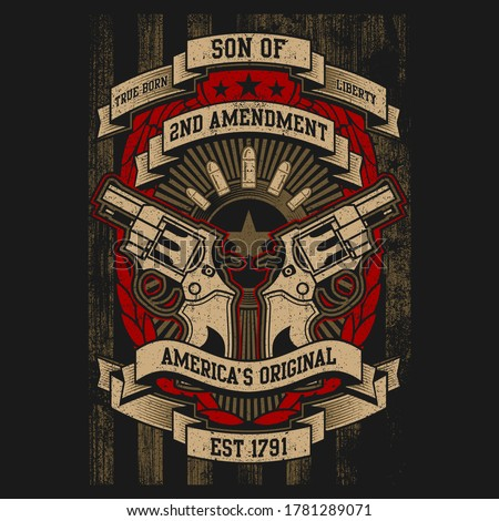Vector Art 2Nd Amendment Illustration Design, United States Constitution, Millitary, Gun Right