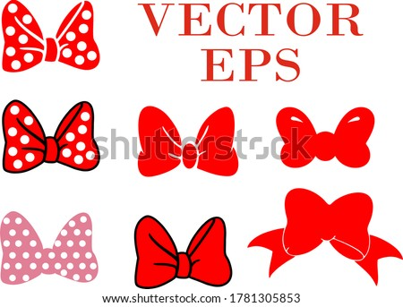Bow set isolated on a white background. Suitable for printing. Vector