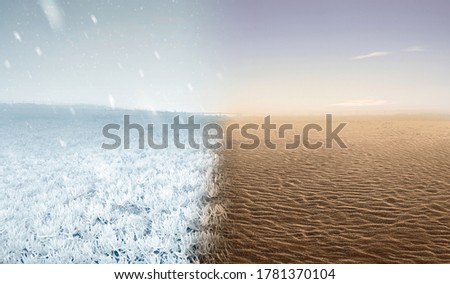 Field with a cold and hot climate. Concept of changing the environment Royalty-Free Stock Photo #1781370104