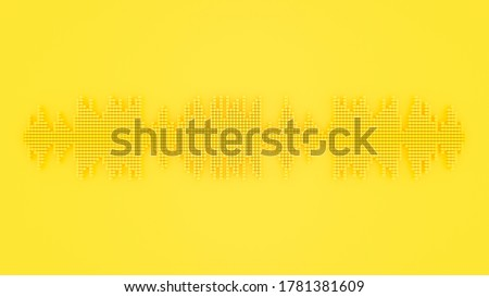 Minimal idea concep. Sound wave Yellow color with clipping path on yellow background. 3D Render.