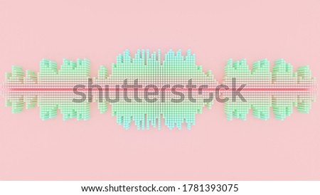 Sound wave Pastel color with clipping path on Pink background. 3D Render.