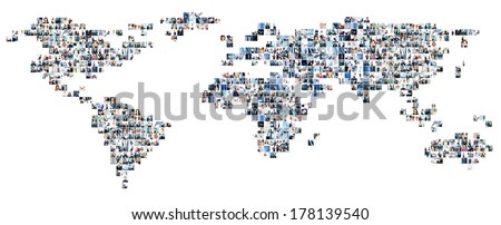 Collage of different business pictures collected as world map. Finance, success, technology, communication, market, time and money concept.