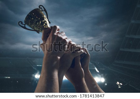 Hard work. Award of victory, male hands tightening the golden cup of winners against cloudy dark sky. Sport, competition, championship, winning, achieving the goal. Prize for success and honor. Royalty-Free Stock Photo #1781413847