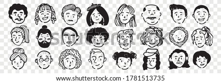 Hand drawn human faces doodle set. Collection of pen ink pencil drawing sketches of young old men women boys girls facial expressions on transparent background. Illustration different age generation. Royalty-Free Stock Photo #1781513735