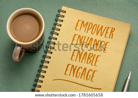 motivational leadership, coaching business or personal development concept - empower, enhance, enable and engage  words in an art sketchbook with a cup of coffee