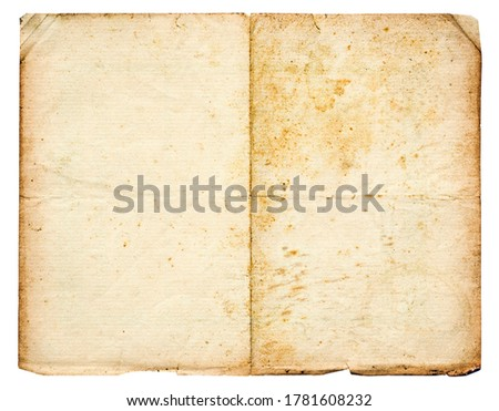 Real old yellowed paper with cracks, ruptures and stains isolated on white background, high resolution