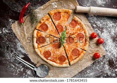 Pizza pepperoni. This picture is perfect for you to design your restaurant menus.