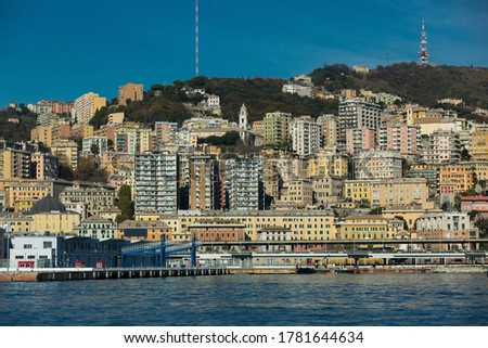Picture of old port of Genova and quay from sea view in Italy at sunny day