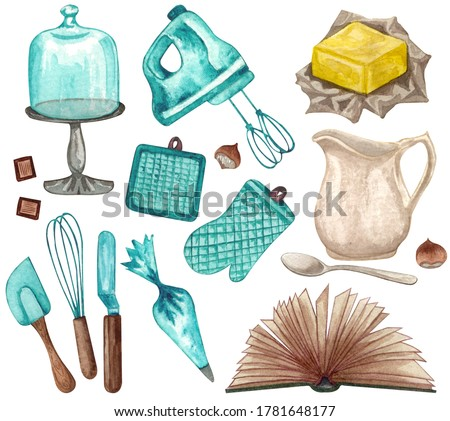 Baking watercolor set with kitchen utensils, jug, butter,  whisk, mixer, potholders, recipes book, cake stand on white background. Hand drawn Cooking clip art.  Baking concept.