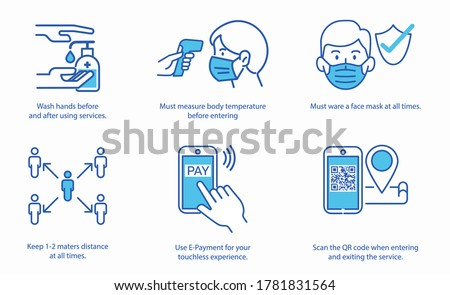 Simple set of coronavirus safety related vector line icons. Mask, check gun thermometer,  hand sanitizer. Vector illustrations.