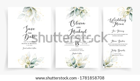 Elegant greenery on wedding invitation card template Royalty-Free Stock Photo #1781858708