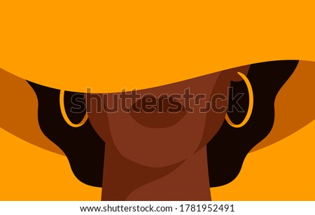 Young African American woman with black curly hair in the yellow hat with a wide brim covering her face. Black strong girl on yellow background, front view. Vector illustration Royalty-Free Stock Photo #1781952491