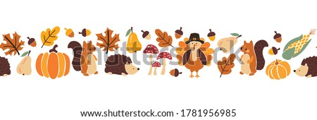 Thanksgiving animals kids vector border. Seamless pattern autumn leaves turkey corn pumpkin hedgehog, squirrel. Harvest festival. Fall party invitation banner. Happy Thanksgiving card decor, footer #1781956985