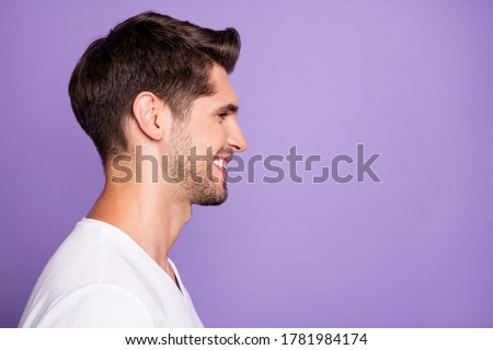 Close-up profile side view portrait of his he nice attractive content cheerful cheery guy modern haircut look isolated over bright vivid shine vibrant lilac violet purple color background #1781984174
