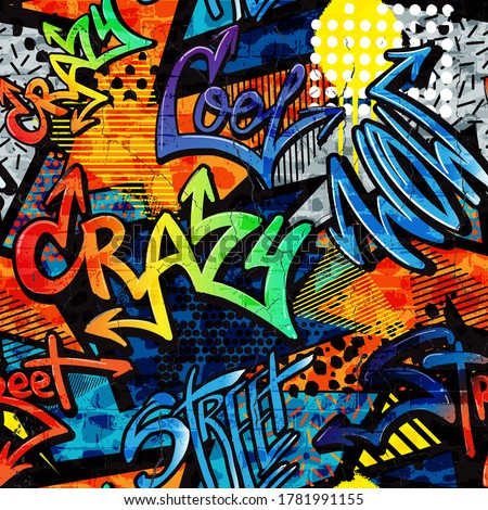 Abstract bright graffiti pattern. With bricks, paint drips, words in graffiti style. Graphic urban design for textiles, sportswear, prints.  #1781991155