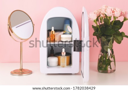 Mini fridge for keeping skincare, makeup and beauty product cool and fresh. Extend shelf live of creams, serums. Keep your beauty products organized and cool. #1782038429