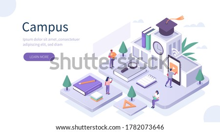 Students Study Online in University or College Campus. Girls and Boys Learning Together with Smartphone and Books. Distance  Education Technology Concept. Flat Isometric Vector Illustration. Royalty-Free Stock Photo #1782073646