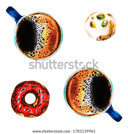 Hand drawn breakfast set with cups of coffee, glazed donut and pistachio cookie isolated on white. Sweet breakfast coffee break morning clipart for postcard, greeting card, logo, menu. Hot beverage