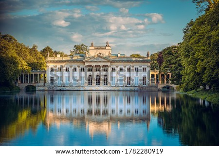 Royal Palace on the Water in Lazienki Park, Warsaw, Palace on the water in the Royal Baths in Warsaw, Poland  Royalty-Free Stock Photo #1782280919