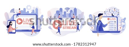 Live streaming. Tiny people watch live stream in social networks. Online video chat. Modern flat cartoon style. Vector illustration on white background Royalty-Free Stock Photo #1782312947
