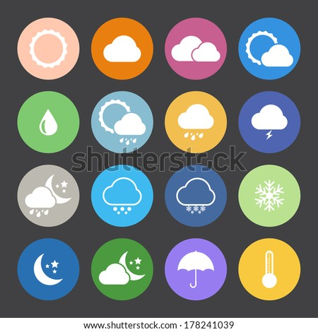 Flat Color style weather icon vector set. #178241039