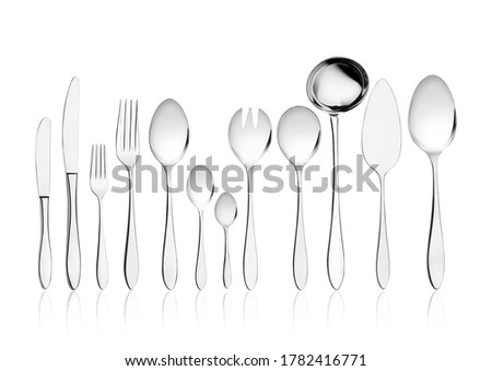 Sterling silver cutlery set on white background. Isolated luxury cutlery set. #1782416771