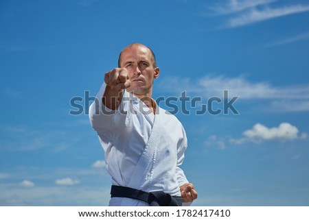 Athlete in karategi beats a punch with a hand on a blue sky background Royalty-Free Stock Photo #1782417410