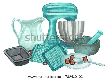 Baking watercolor set with kitchen utensils, mixer, chocolate,  potholders, spoon, clay jag, whisk on white background.  Cooking clip art.  Baking illustration.