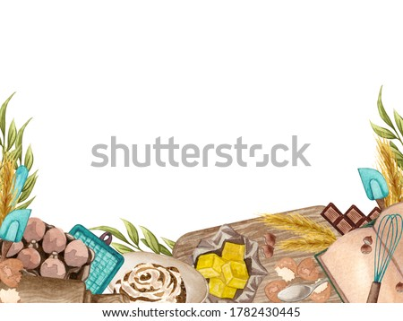 Baking square frame with kitchen utensils, jug, butter, whisk, mixer, potholders, recipes book, rolling pin, wheat, eggs on white background. Watercolor cooking clip art. space for your text.
