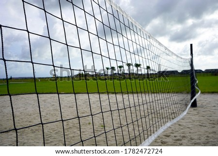 Volleyball net up close with palm trees in background.                   #1782472724