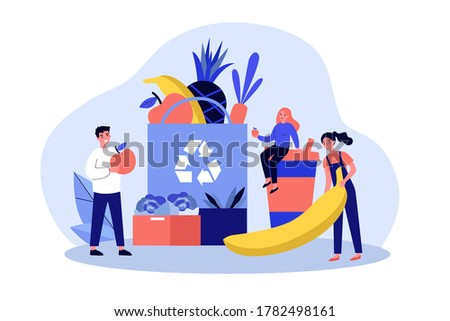 People putting organic food into eco friendly bag with recycling sign. Shoppers with fresh fruits and plastic cup. illustration for sustainable development, zero waste, reuse concept