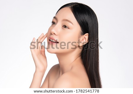 Side view Beautiful Young asian Woman with Clean Fresh Skin, on white background, Face care, Facial treatment. Cosmetology, beauty and spa. Asian women portrait #1782541778