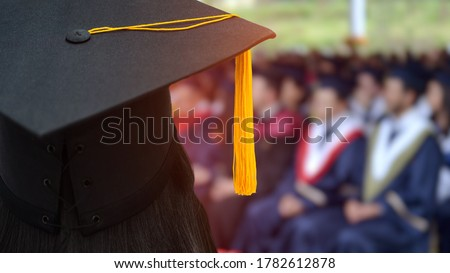 Review of the success university graduate hat during commencement. Concept of successful in education. University congratulation ceremony. Education stock photo.