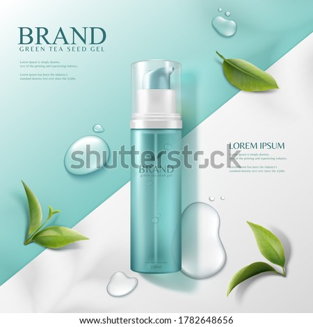 3d illustration green tea seed serum ads, pump bottle product lying on geometric background in top view angle with water drops and leaves #1782648656