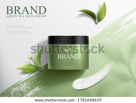 3d illustration green tea seed cream ads, product lying on brush stroke background in top view angle #1782648659