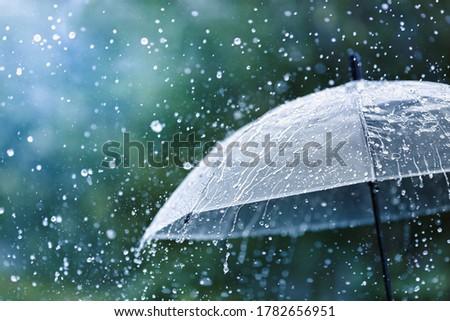 Transparent umbrella under rain against water drops splash background. Rainy weather concept. Royalty-Free Stock Photo #1782656951