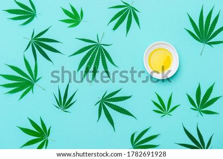 Green marijuana leaf, hemp seeds and cannabis oil on mint color background. Alternative medicine. Vegetarian food concept