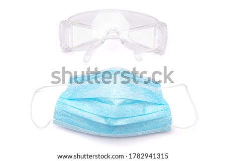 mask and safety glasses for personal protection on white baclground with clipping path #1782941315
