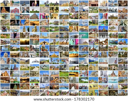 collection images used as a background with several destinations from all over the world
