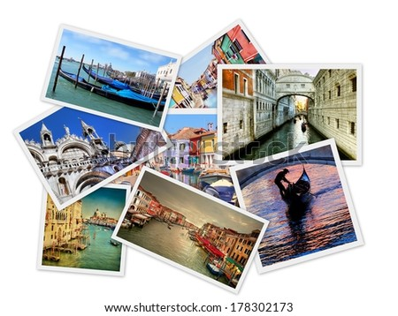 Collage from  photos of venice, Italy , isolated on white background