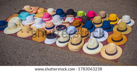 Street sale of hats at the French Riviera - travel photography