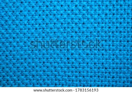 Turquoise wool knitted fabric. material, textile background #1783156193
