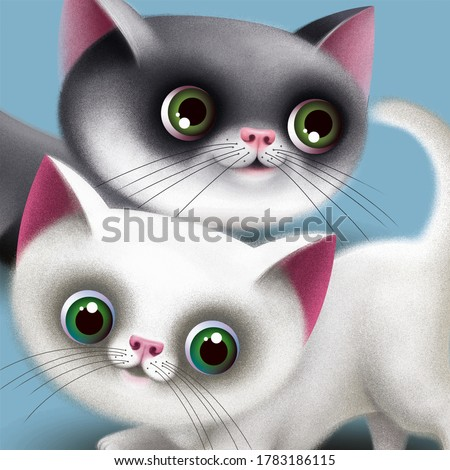 Two cute, funny kittens. Illustration.