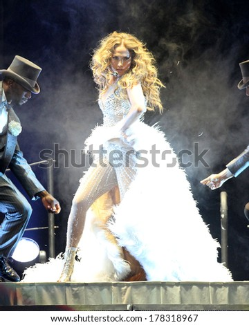 NEW JERSEY - JULY 20, 2013: Jennifer Lopez performs at the Prudential Center in Newark, New Jersey on July 20, 2013.  #178318967