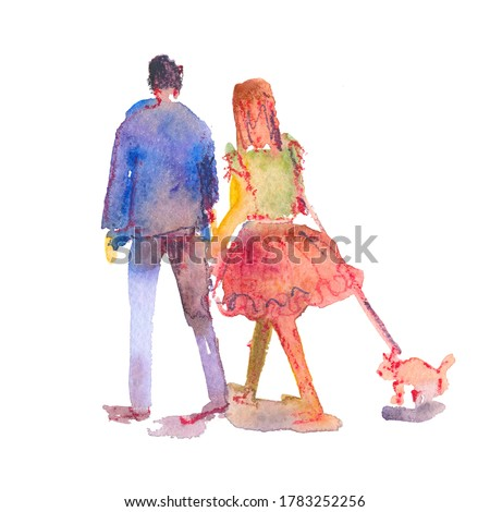 Hand drawn illustration: stylized people. Watercolor sketches. Man and woman with dog on a leash