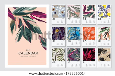 2021 calendar template. Calendar concept design with abstract natural patterns. Set of 12 months 2021 pages. Vector illustration #1783260014