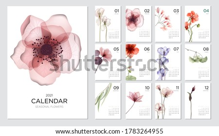 2021 calendar template on a botanical theme. Calendar design concept with abstract seasonal flowers. Set of 12 months 2021 pages. Vector illustration #1783264955
