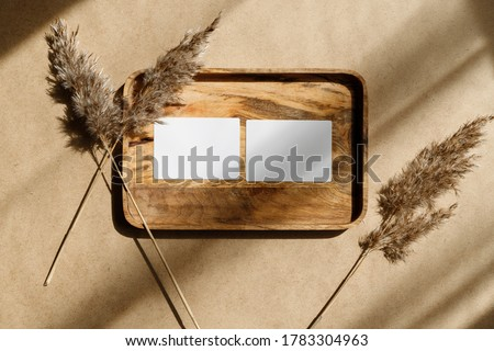 Top view of two blank paper sheet cards on a wooden tray with dry grass. Beige or sand tones. Mockup for business template, copy space.
