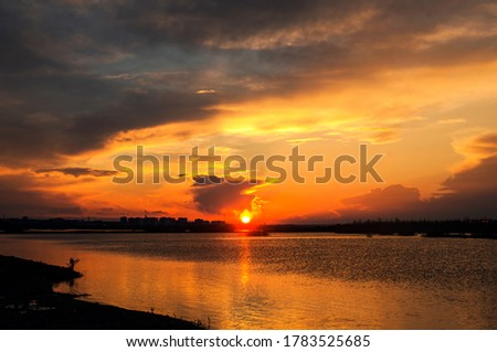 Sunset over the Tigris River in Bismilde Royalty-Free Stock Photo #1783525685